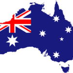 Australia and flag within
