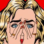 Pop art Shocked woman hands on her face white 123RF e1521092228660