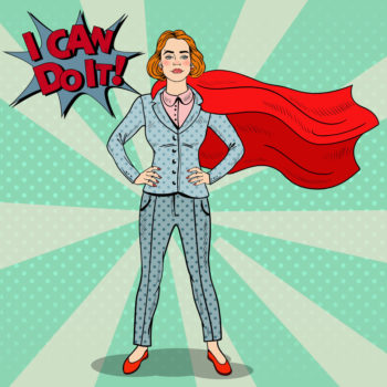 Pop Art Pop Art Confident Business Woman Super Hero in Suit with Red Cape 123RF