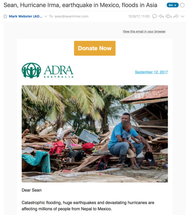 ADRA disaster appeal 2017