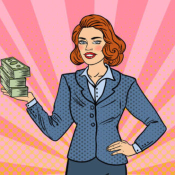 Pop Art Business Woman with Money e1511147400730