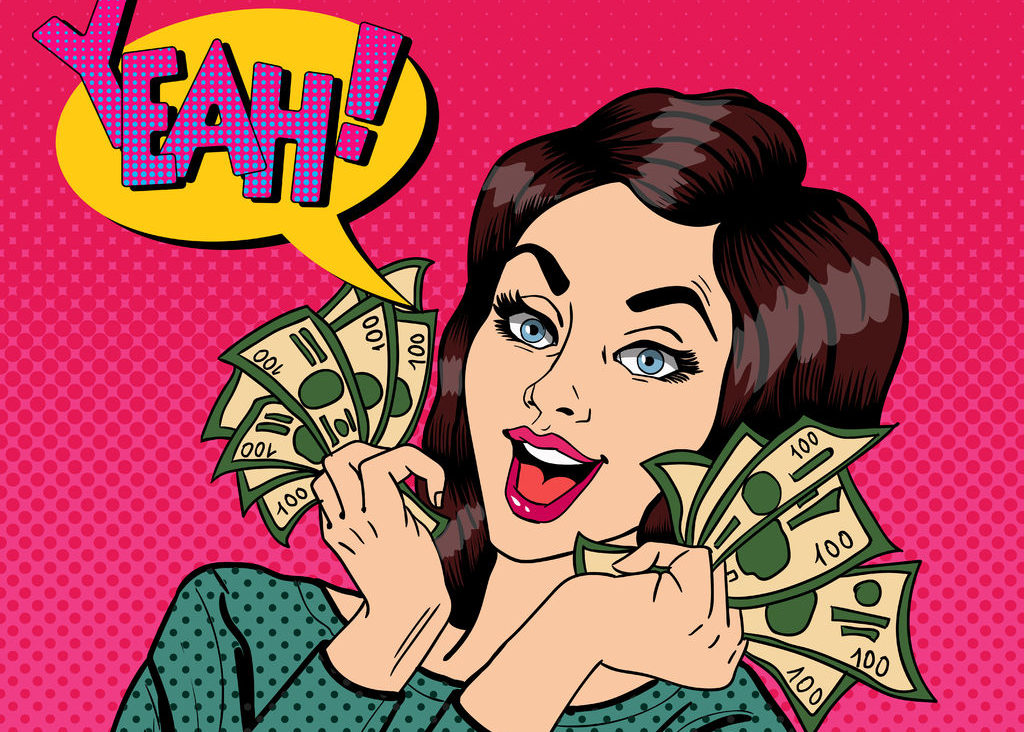 Pop Art Businesswoman Holding Cash e1517480944956